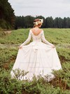 Off-the-shoulder Backless A-line Chiffon Tulle Appliques Lace Court Train Long Sleeve Famous Wedding Dresses #DOB00022785