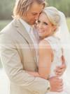 Wholesale A-line V-neck Taffeta with Lace Sweep Train Open Back Wedding Dresses #DOB00022790