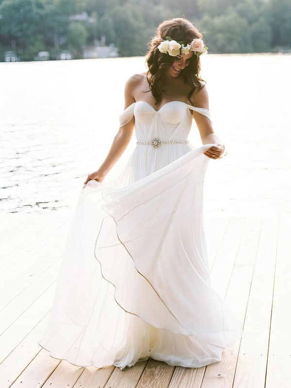 Off-the-shoulder A-line Chiffon Sashes / Ribbons Floor-length Newest Backless Wedding Dresses #DOB00022791