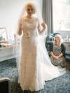 Scoop Neck Sheath/Column Tulle Appliques Lace Sweep Train Fashion 1/2 Sleeve Wedding Dresses #DOB00022793