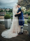 Scoop Neck Sheath/Column Tulle Appliques Lace Sweep Train Fashion 1/2 Sleeve Wedding Dresses #DOB00022793