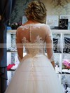 Graceful Scoop Neck Ball Gown Tulle Appliques Lace Floor-length 1/2 Sleeve Wedding Dresses #DOB00022795