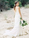 Trumpet/Mermaid V-neck Lace with Ruffles Sweep Train Elegant Backless Wedding Dresses #DOB00022797