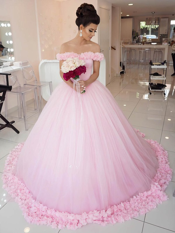 Glamorous Ball Gown Pink Tulle Appliques Lace Court Train Off-the-shoulder Wedding Dresses #DOB00022798
