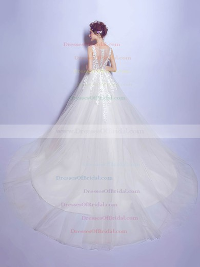 V-neck Ivory Tulle with Appliques Lace Chapel Train Beautiful Ball Gown Wedding Dresses #DOB00022799