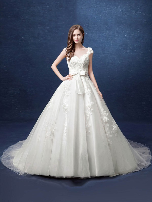 Ball Gown V-neck Tulle with Appliques Lace Court Train Fabulous Backless Wedding Dresses #DOB00022800
