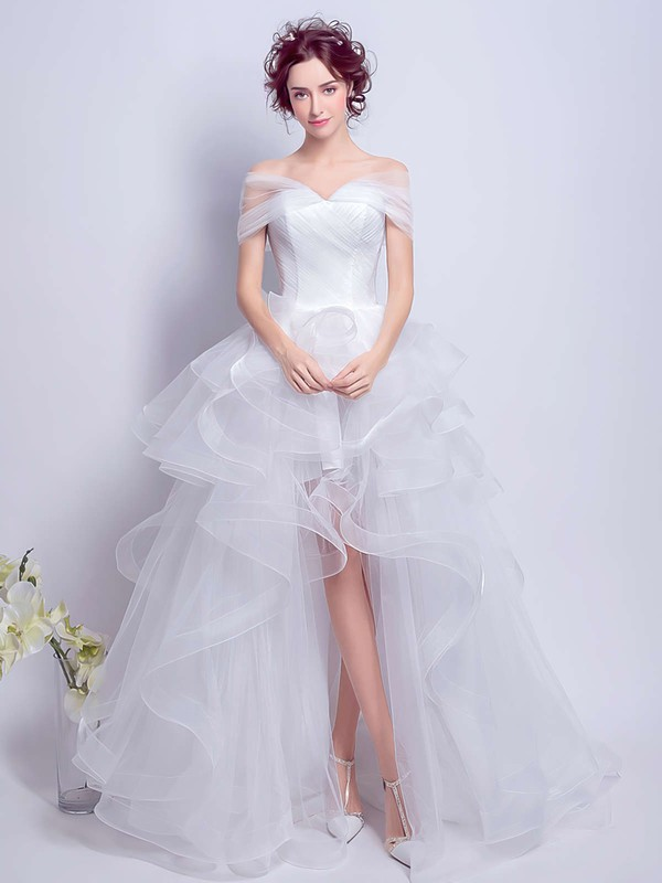 Different Off-the-shoulder Princess White Organza Tiered Asymmetrical Wedding Dresses #DOB00022801