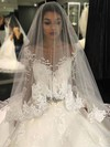 Ball Gown Scoop Neck Tulle Appliques Lace Chapel Train Stunning Long Sleeve Wedding Dresses #DOB00022804