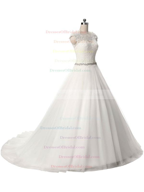 Graceful Scalloped Neck Tulle Sashes / Ribbons Sweep Train Ball Gown Wedding Dresses #DOB00022806