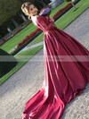 Ball Gown Off-the-shoulder Burgundy Satin Tulle Appliques Lace Watteau Train Classy Long Sleeve Wedding Dresses #DOB00022807