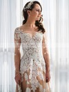 A-line Scoop Neck Champagne Tulle Appliques Lace Floor-length New Long Sleeve Wedding Dresses #DOB00022808