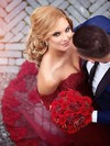 Sexy Trumpet/Mermaid Burgundy Tulle Appliques Lace Court Train Off-the-shoulder Wedding Dresses #DOB00022809