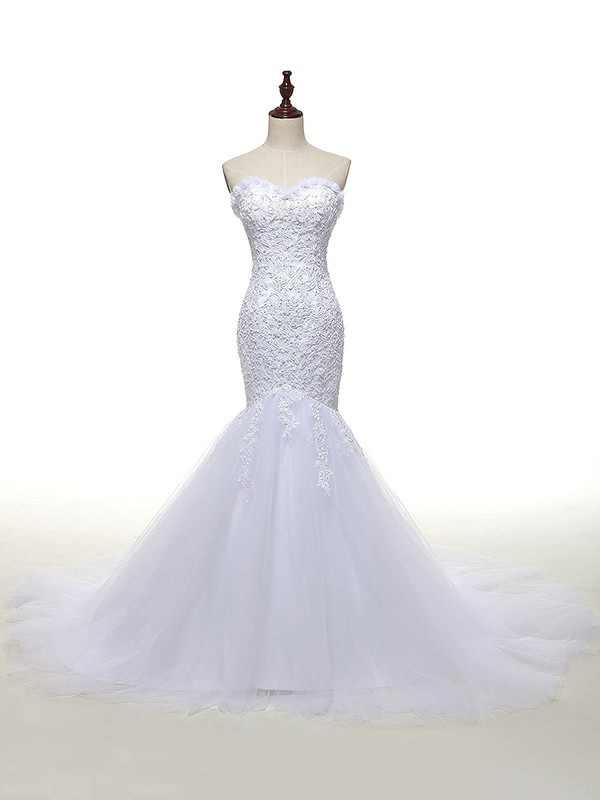 Sweetheart White Tulle Appliques Lace Court Train Custom Trumpet/Mermaid Wedding Dresses #DOB00022810