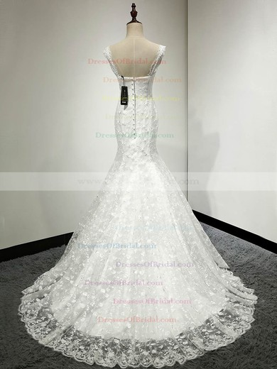 Classic V-neck Ivory Lace with Appliques Lace Sweep Train Trumpet/Mermaid Wedding Dresses #DOB00022811