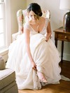 A-line V-neck Chiffon Tulle with Pick-Ups Sweep Train Cap Straps Fashion Wedding Dresses #DOB00022812
