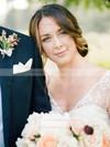 A-line V-neck Chiffon Tulle with Pick-Ups Sweep Train Cap Straps Fashion Wedding Dresses #DOB00022812