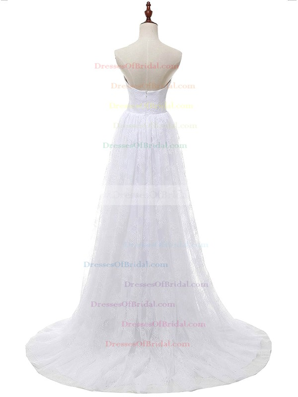 Affordable A-line Sweetheart Lace Chiffon with Appliques Lace Sweep Train Wedding Dresses #DOB00022813
