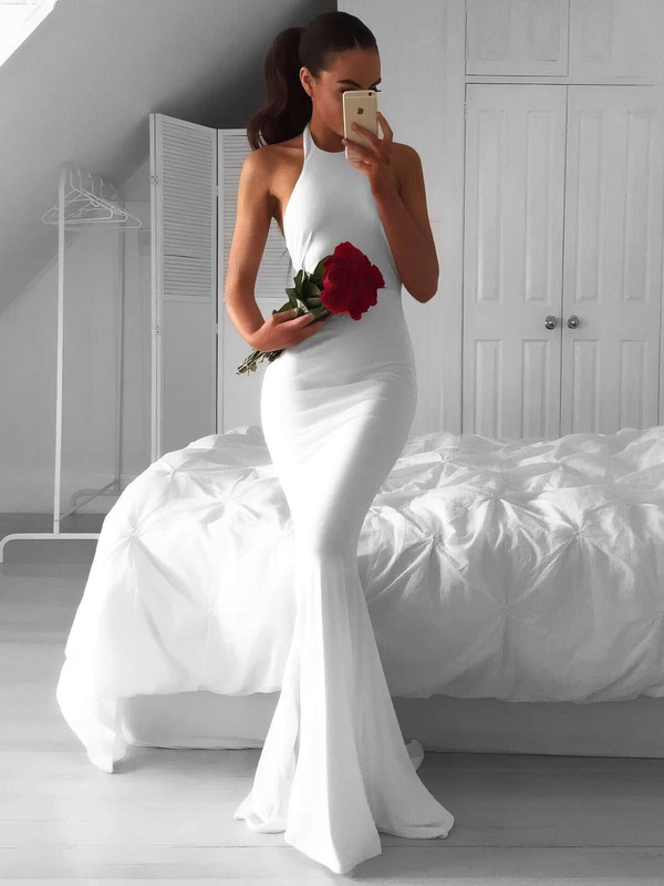 Trumpet/Mermaid Halter White Chiffon Ruffles Sweep Train Hot Backless Wedding Dresses #DOB00022814