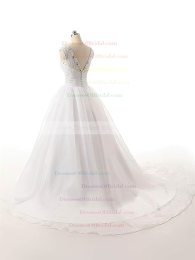 Inexpensive V-neck Organza with Beading Court Train Ball Gown Wedding Dresses #DOB00022815