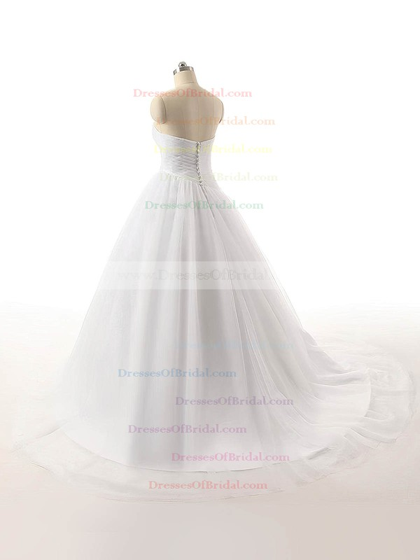 Wholesale Sweetheart Tulle with Ruffles Sweep Train Ball Gown Wedding Dresses #DOB00022816