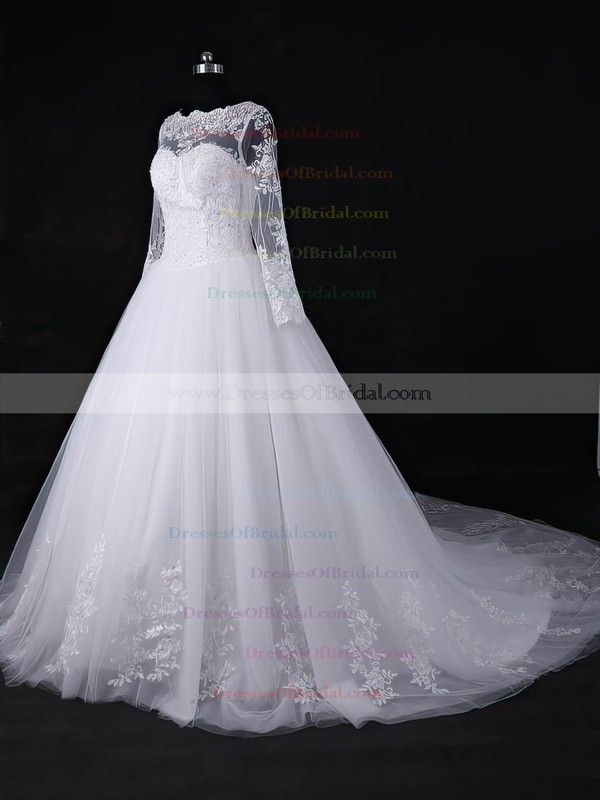 Discounted Ball Gown Scoop Neck White Tulle Appliques Lace Court Train Long Sleeve Wedding Dresses #DOB00022818