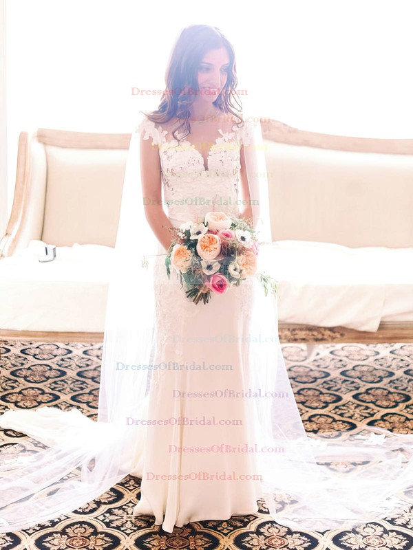 Newest Scoop Neck Tulle Silk-like Satin Appliques Lace Sweep Train Sheath/Column Wedding Dresses #DOB00022819