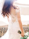 Newest Scoop Neck Tulle Silk-like Satin Appliques Lace Sweep Train Sheath/Column Wedding Dresses #DOB00022819