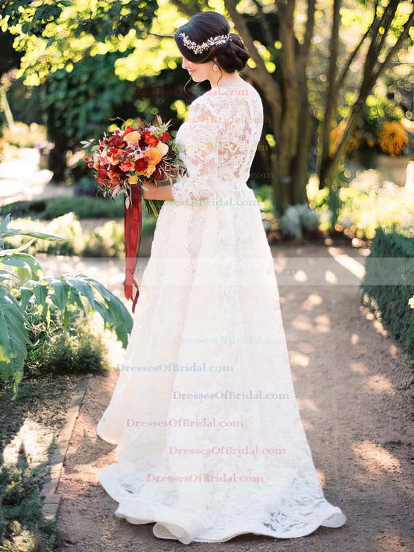 A-line Scoop Neck Lace Appliques Lace Sweep Train Latest 3/4 Sleeve Two Piece Wedding Dresses #DOB00022820