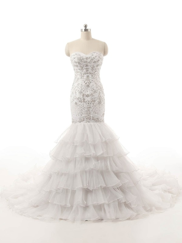 Vintage Sweetheart Organza with Tiered Court Train Lace-up Trumpet/Mermaid Wedding Dresses #DOB00022821
