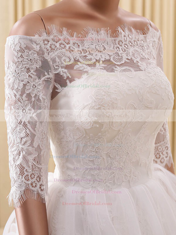 A-line Off-the-shoulder Organza Tulle Appliques Lace Cute Short/Mini 1/2 Sleeve Wedding Dresses #DOB00022822