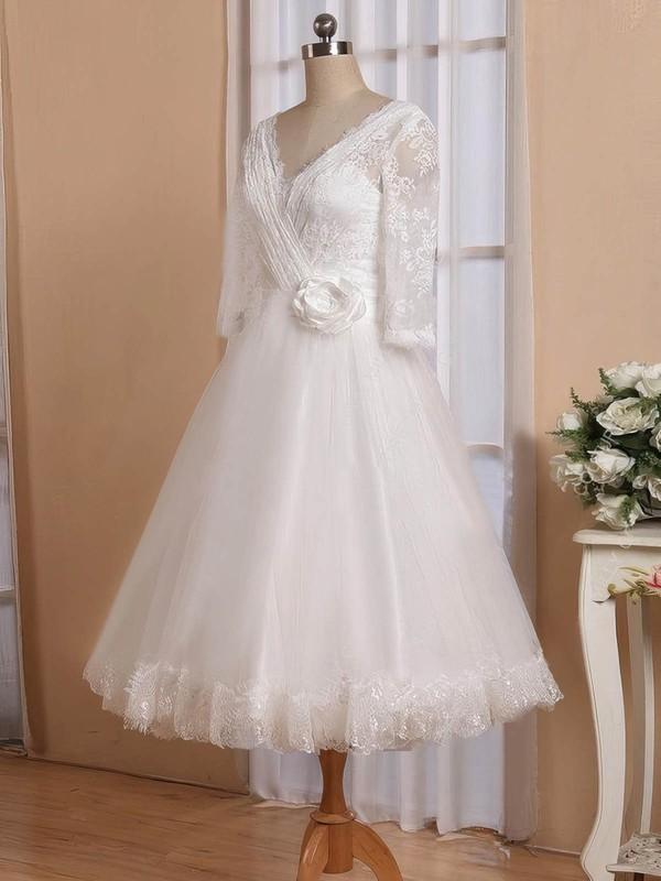 Cheap Tea-length A-line V-neck Tulle with Flower(s) 3/4 Sleeve Wedding Dresses #DOB00022826