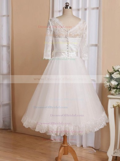 Cheap Tea-length A-line V-neck Tulle with Flower(s) 3/4 Sleeve Wedding Dresses #DOB00022826