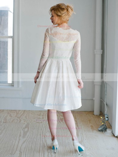 Short/Mini A-line Scoop Neck Lace Satin Appliques Lace Long Sleeve Modern Wedding Dresses #DOB00022827