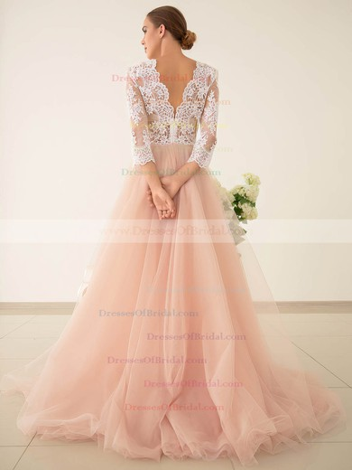 Pretty Princess V-neck Tulle with Appliques Lace Sweep Train 3/4 Sleeve Wedding Dresses #DOB00022828