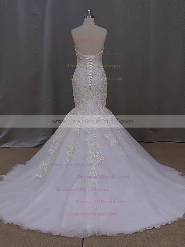 Online Sweetheart Tulle with Appliques Lace Court Train Trumpet/Mermaid Wedding Dresses #DOB00022829