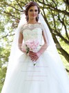 New Style Scalloped Neck Tulle Appliques Lace Floor-length Ball Gown Wedding Dresses #DOB00022830