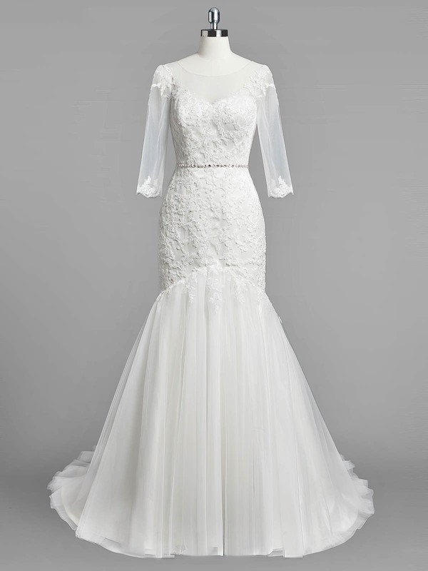 Trumpet/Mermaid Scoop Neck Tulle Appliques Lace Sweep Train Modest 3/4 Sleeve Wedding Dresses #DOB00022833