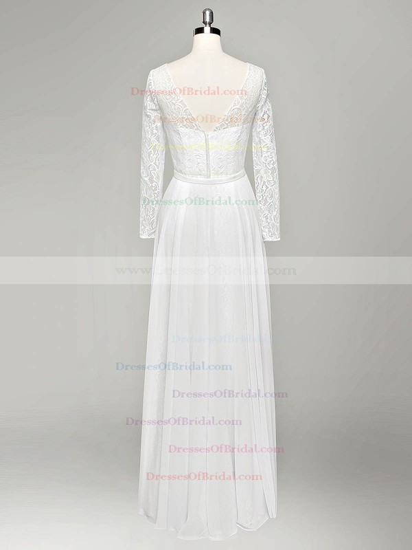 Cheap A-line V-neck Lace Chiffon Sashes / Ribbons Floor-length Long Sleeve Wedding Dresses #DOB00022834