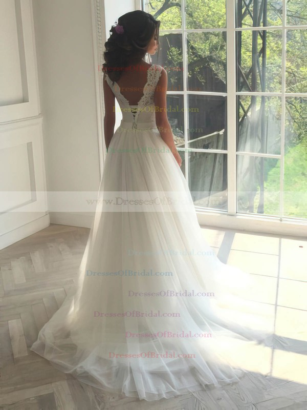 A-line Scoop Neck Tulle with Appliques Lace Sweep Train Sweet Backless Wedding Dresses #DOB00022835
