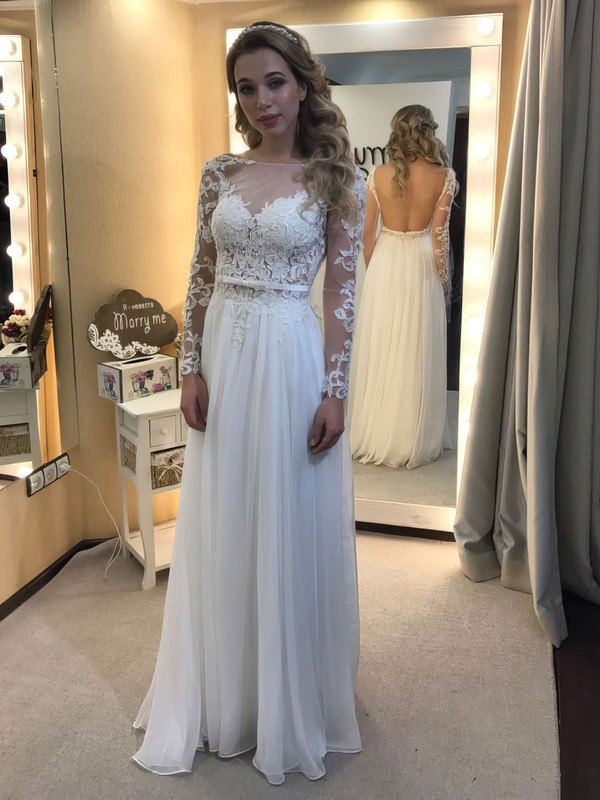 A-line Scoop Neck Tulle Chiffon Sashes / Ribbons Floor-length Unique Long Sleeve Backless Wedding Dresses #DOB00022836