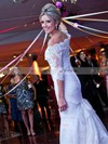 Trumpet/Mermaid Off-the-shoulder Tulle Appliques Lace Sweep Train Graceful 1/2 Sleeve Wedding Dresses #DOB00022839