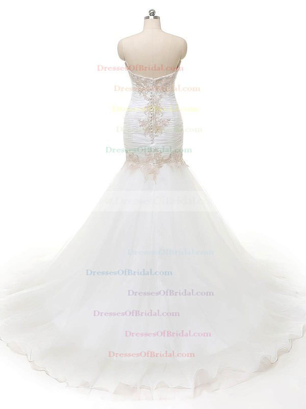 Wholesale Sweetheart Organza with Appliques Lace Sweep Train Trumpet/Mermaid Wedding Dresses #DOB00022840