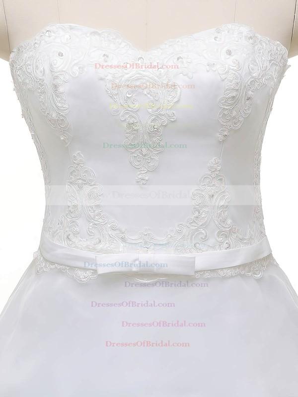 Original Sweetheart Organza with Appliques Lace Court Train Princess Wedding Dresses #DOB00022841