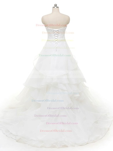 Original Sweetheart Organza with Appliques Lace Court Train Princess Wedding Dresses #DOB00022841