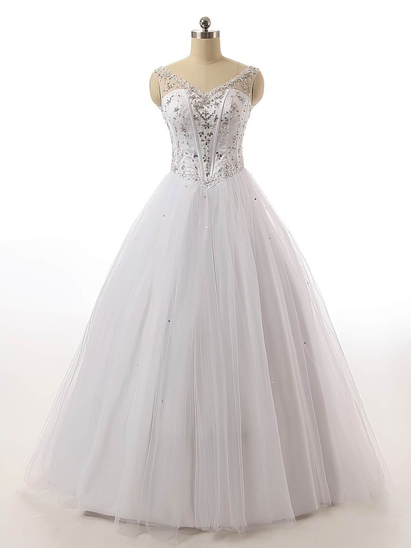 Vintage V-neck Tulle with Beading Floor-length Lace-up Ball Gown Wedding Dresses #DOB00022842