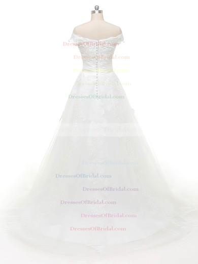 Discounted Ball Gown Tulle Appliques Lace Sweep Train Off-the-shoulder Wedding Dresses #DOB00022843