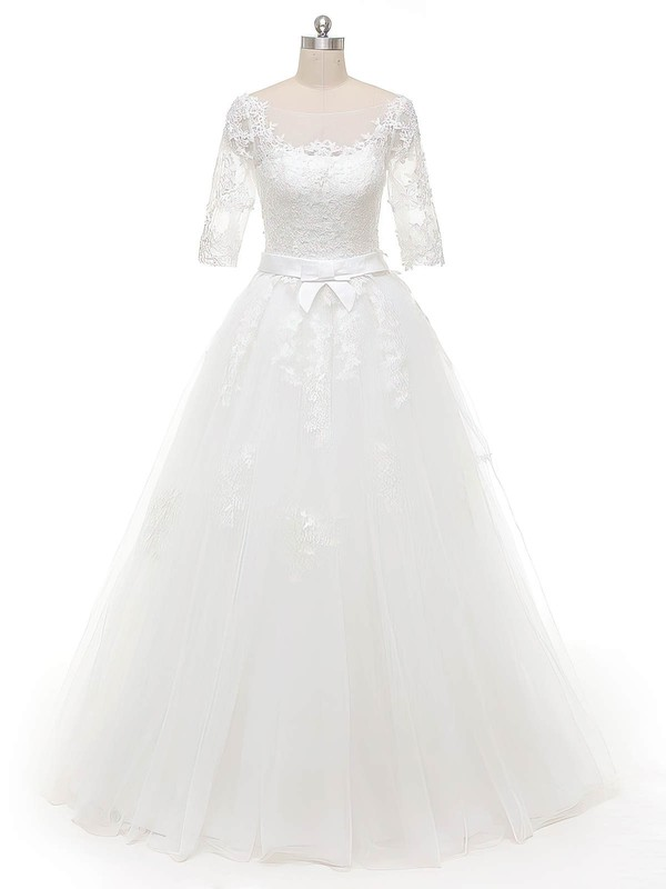 Ball Gown Scoop Neck White Tulle Appliques Lace Floor-length Original 1/2 Sleeve Wedding Dresses #DOB00022844
