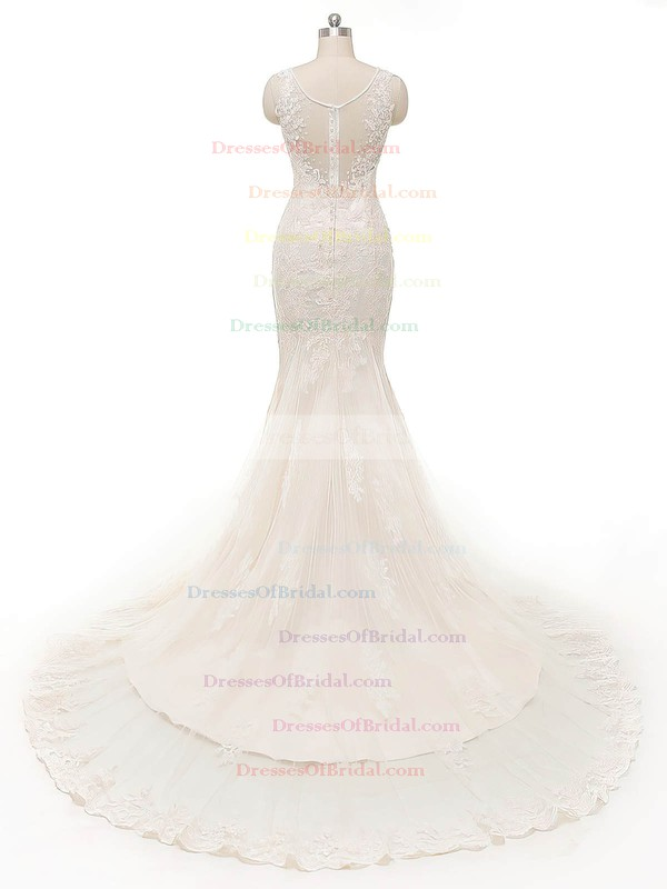 Perfect V-neck Ivory Tulle Crystal Detailing Court Train Trumpet/Mermaid Wedding Dresses #DOB00022845