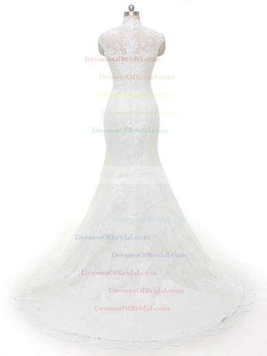 Famous Trumpet/Mermaid Tulle with Appliques Lace Sweep Train High Neck Wedding Dresses #DOB00022846
