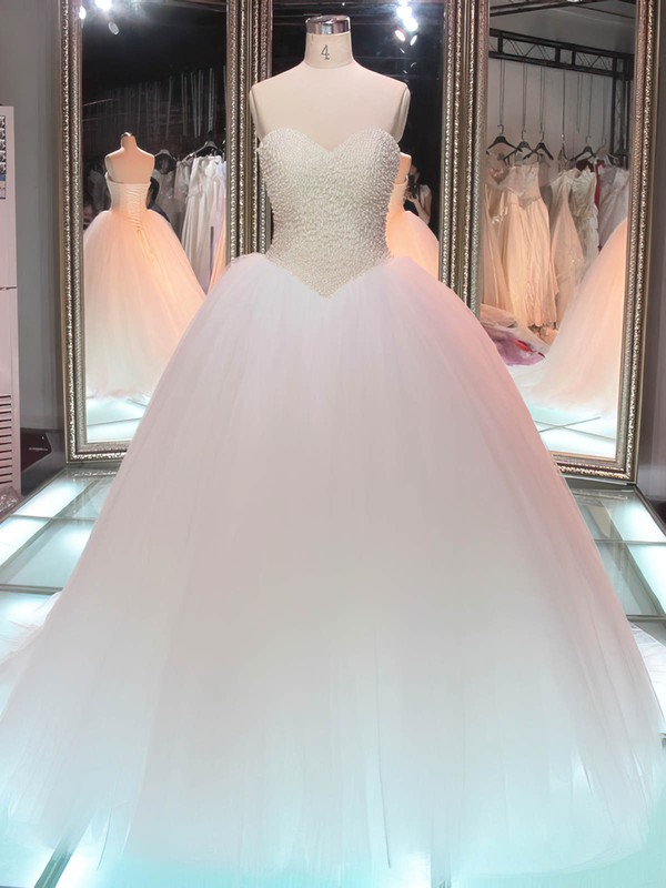Sweetheart Tulle Pearl Detailing Floor-length Lace-up Boutique Ball Gown Wedding Dresses #DOB00022847